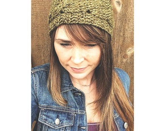 Cable Stitch Headband in Moss Green