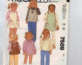 Girls Sewing Pattern McCalls 7589 Girls Jumper Dress Tunic Top Blouse Size 3 Breast 22 1980s 1981 80s  99