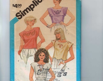 1980s Vintage Sewing Pattern Simplicity 6409 Misses Pullover Top in Two Lengths Size Small 10 12 Bust 32 34 1984 80s UNCUT  99