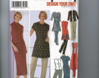 Misses Sewing Pattern Simplicity 5589 Misses Design your Own Dress Tunic Pants Skirt Mandarin Collar Size 8 10 12 14 16 18 20 22 UNCUT  99