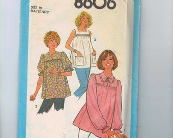 Misses Sewing Pattern Simplicity 8606 Misses Maternity Blouse Top Smock Size 10 Bust 32 33 1978 70s UNCUT  99