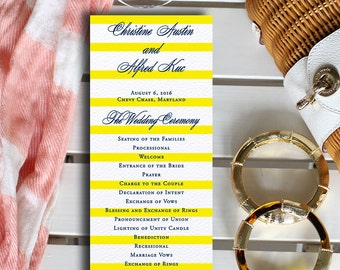 Striped wedding program, yellow and navy wedding program, preppy wedding program, double sided panel program {set of 50}