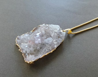 Rough Angels Wing Lavender Crystal Quartz Druzy 22K Gold Dipped Pendant Necklace 20""