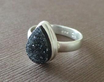 Geode Druzy Ring Matte Sterling Silver Ring Black Drusy Ring