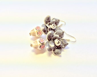 Black White Polkadot Pink Day of the Dead Roses and Sugar Skull Earrings