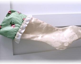 Shabby Chic and Cottage style Romantic Stocking - Retro pink roses & polka dot Vintage chintz and satin jacquard fabrics