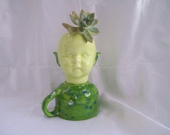 Green Ceramic Doll Head  Planter With Tea Cup
