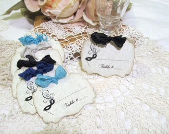 Masquerade Mask Parchment Wedding Escort Tags Party Place Seating Cards - Set of Nine - Choose Ribbons - Birthday Bridal Shower Ball Wedding