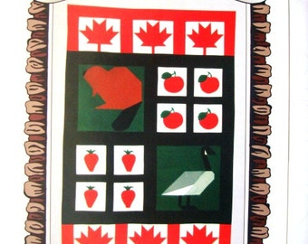 Proud to be Canadian QUILTED BANNER Maple Leaf, Beaver, Canada Goose, Apple, Strawberry 1996 Ruffled Elegance