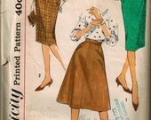 Vintage 50's Sewing Pattern, Ladies Set of Skirts, Pencil Skirt, A-line, Waist 26