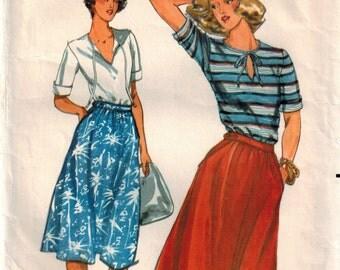 Vintage 70's Dirndl Skirt Sewing Pattern, Misses' Top and Skirt, Summer Skirt & Top Pattern, Button Waist Skirt, Butterick 5441, Size 10,
