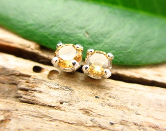 Citrine Light Yellow Earrings in Gold, Silver, Platinum, or Palladium with Genuine Gems, 3mm - Free Gift Wrapping