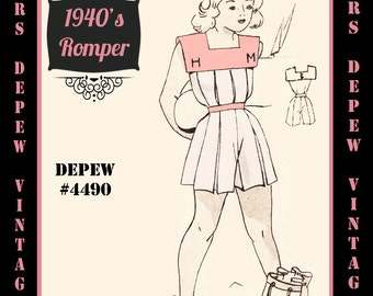 Vintage Sewing Pattern 1940's Girls' Romper Playsuit in Any Size Depew 4490 - Plus Size Included -INSTANT DOWNLOAD-