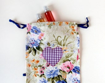 Violet Heart Drawstring Bag, Lingerie Travel Bag, Cotton Storage and Organizing Fabric Bag - Ready to Ship