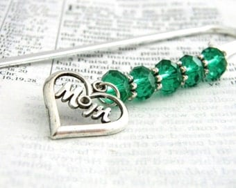 Mom Bookmark with Emerald Green Beads Shepherd Hook Bookmark Steel Bookmark Silver Color Beaded