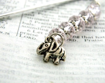 Elephant Bookmark with Pink Beads Shepherd Hook Steel Bookmark Silver Color