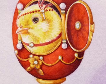 Faberge' Inspired Easter Egg & Chick No 3 Miniature Art - Limited Edition ACEO Giclee Print reproduced from the Original Watercolor