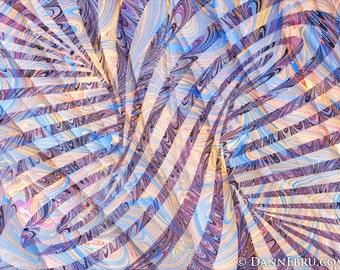 "Spiral Column, 11""x8.5"" archival Giclee Print, Ebru art, paper marbling Artist"