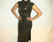 Vintage 90's GOLDIE-  black and Gold Glitter Slinky dress