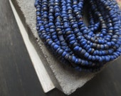 Small dark night blue seed beads cobalt blue glass beads organic barrel tube spacer Indonesia 1.5  to 4  mm /  44 inches  strand  - 5bgl2-5