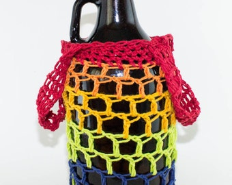 Crocheted Cotton Growler Bag- RAINBOW