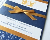 Royal Blue and Gold Baby Shower Invitation, Little Prince, Unique baby shower invitations, Birthday party, bar mitzvah invite - Sample