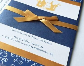 Royal Blue Gold Baby Shower Invitation, Little Prince Unique baby shower invitations, Birthday party, bar mitzvah invite -Deposit to Start
