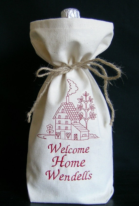 Personalized wine bag housewarming gift realtor by for Best wine for housewarming gift