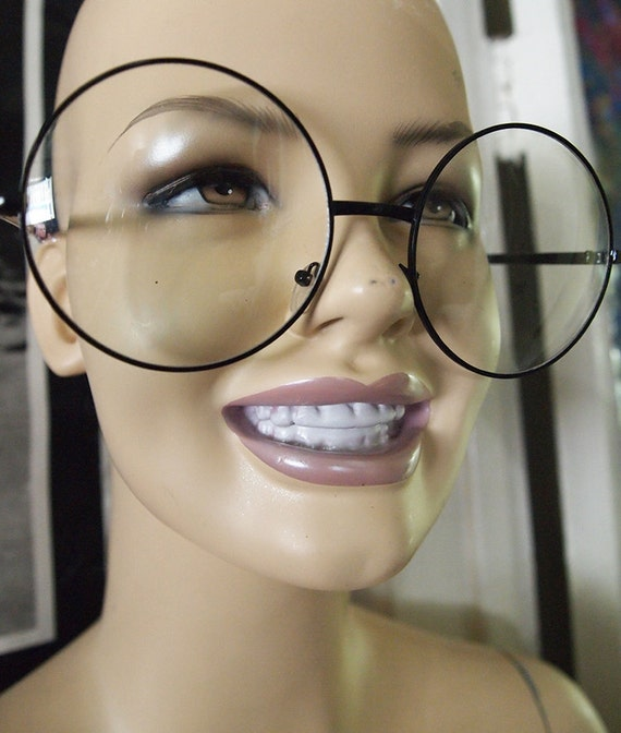 Eyeglass Frames For Large Eyes : BIG EYES // Vintage 90s Oversized Circle Glasses Clear Lens