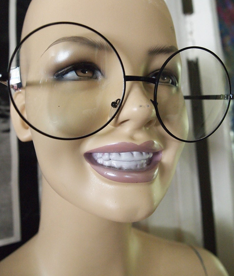 Are Big Eyeglass Frames In Style : BIG EYES // Vintage 90s Oversized Circle Glasses Clear Lens