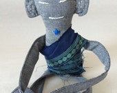 Tiny Zen Buddha Doll #46, Indigo American Chambray Cotton with Chakras, Nepalese Silk Robe, OOAK, Numbered and Signed