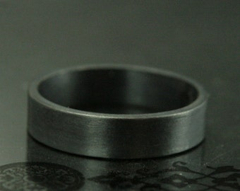 Basic Black Band--5mm Flat Black Oxidized Sterling Silver Men's Band--Men's Wedding Band--Black Silver Ring--Simple Black Band--Handmade