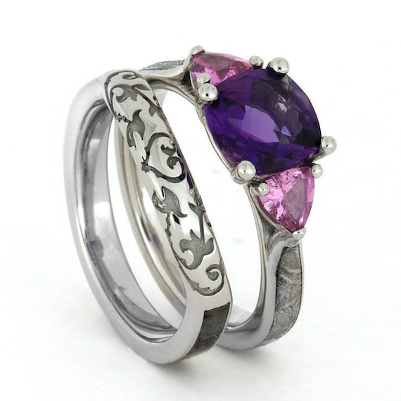 purple amethyst engagement ring with pink by jewelrybyjohan