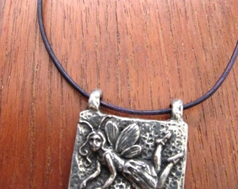 PIXIE FAIRY Silver Pewter Necklace Leather Whimsical Jewelry