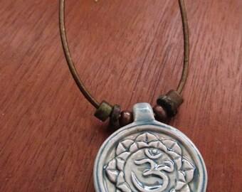 Om Lotus Flower Necklace, Japanese Porcelain Raku Pendant, Meditation