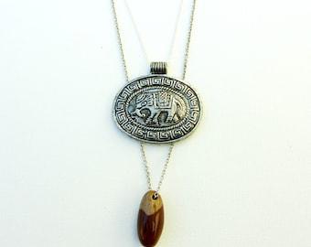 Elephant and Shiva Lingam Stone Layering Necklace Set. Two Necklaces. Animal Medicine Talisman