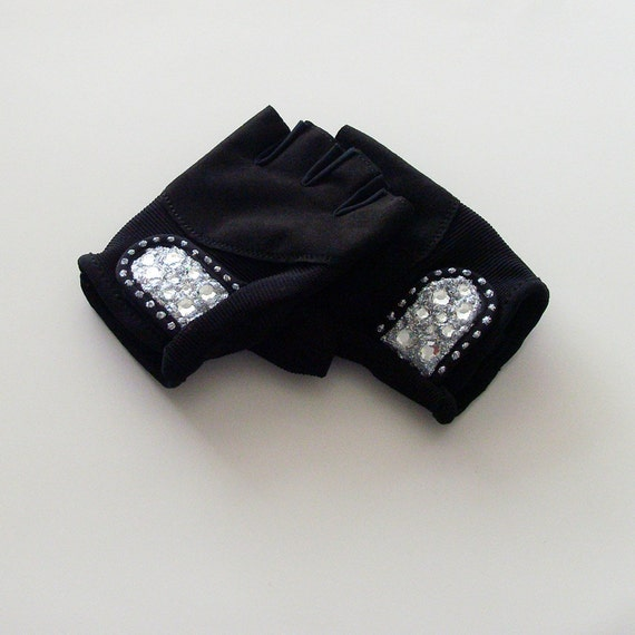 Vegan Gym Gloves: Silver Bling Strength Training Gloves / Ladies LARGE By