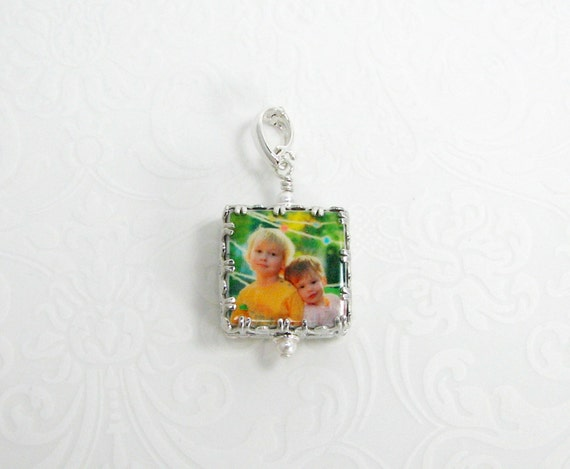 Photo Charm Wrapped in a Gorgeous Sterling Silver Gallery Frame - WC5G