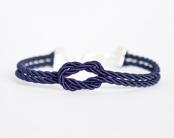 Navy blue forever knot nautical rope bracelet with silver or gold anchor charm