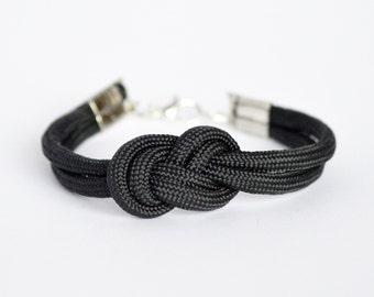 Black infinity knot parachute cord rope bracelet