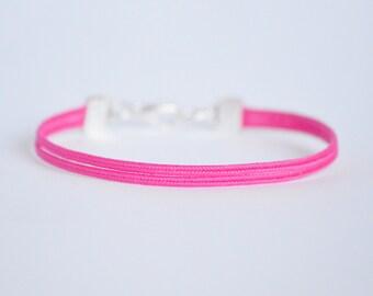 Bright pink delicate minimal soutache braid double rope bracelet