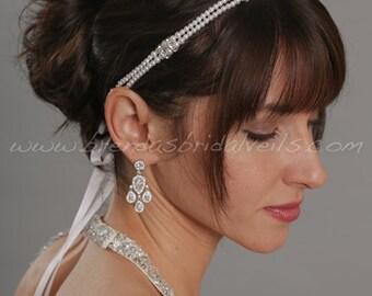 Pearl Headband with Swarovski Crystal Rhinestone Accents, Wedding Headband, Bridal Headband - Monique