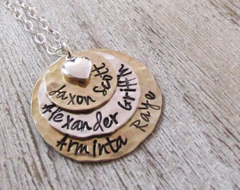 Triple Love Mom Necklace - hand stamped necklace - personalized necklace - mothers necklace - Custom Stamped Necklace with names
