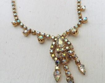 Vintage lavalier rhinestone necklace aurora borealis rhinestones gold tone metal bride wedding jewelry