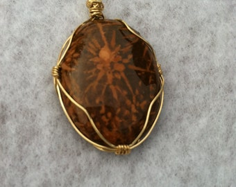Hand Crafted Wire Wrapped Chrysanthemum Stone Pendant