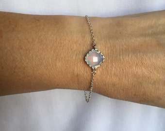 Crystal Opalite and silver Bracelet, Opalite Bracelet, Opalite Jewelry, Mothers Day, graduation gift, moonstone jewelry,