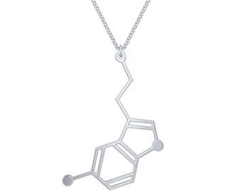 Serotonin Molecule Necklace - Silver