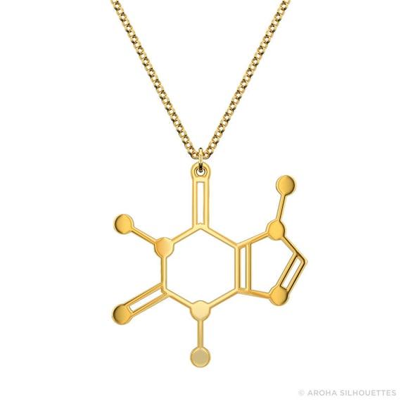caffeine molecule necklace gold