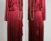 SALE- Satin Maxi Gown . Vintage 1940s Cranberry Dress