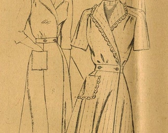 1940s Mail Order 2596 FF Vintage Sewing Pattern Misses Housecoat, Dressing Gown, Hostess Gown, Robe Size 16 Bust 34